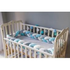 Бортик косичка в детскую кроватку - Aqua
