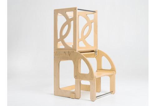 Башня помощника (детская стремянка), Башня Монтессори трансформируемая в стол и стул со спинкой