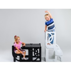 Башня помощника - трансформер - стол + стул Tarwus Белая Стул Башня Монтессори