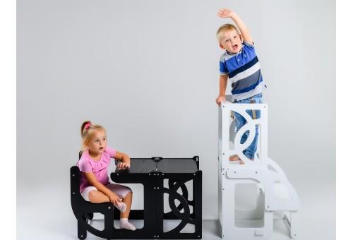 Башня помощника (детская стремянка), Стул Башня Монтессори трансформируемая в стол и стул со спинкой